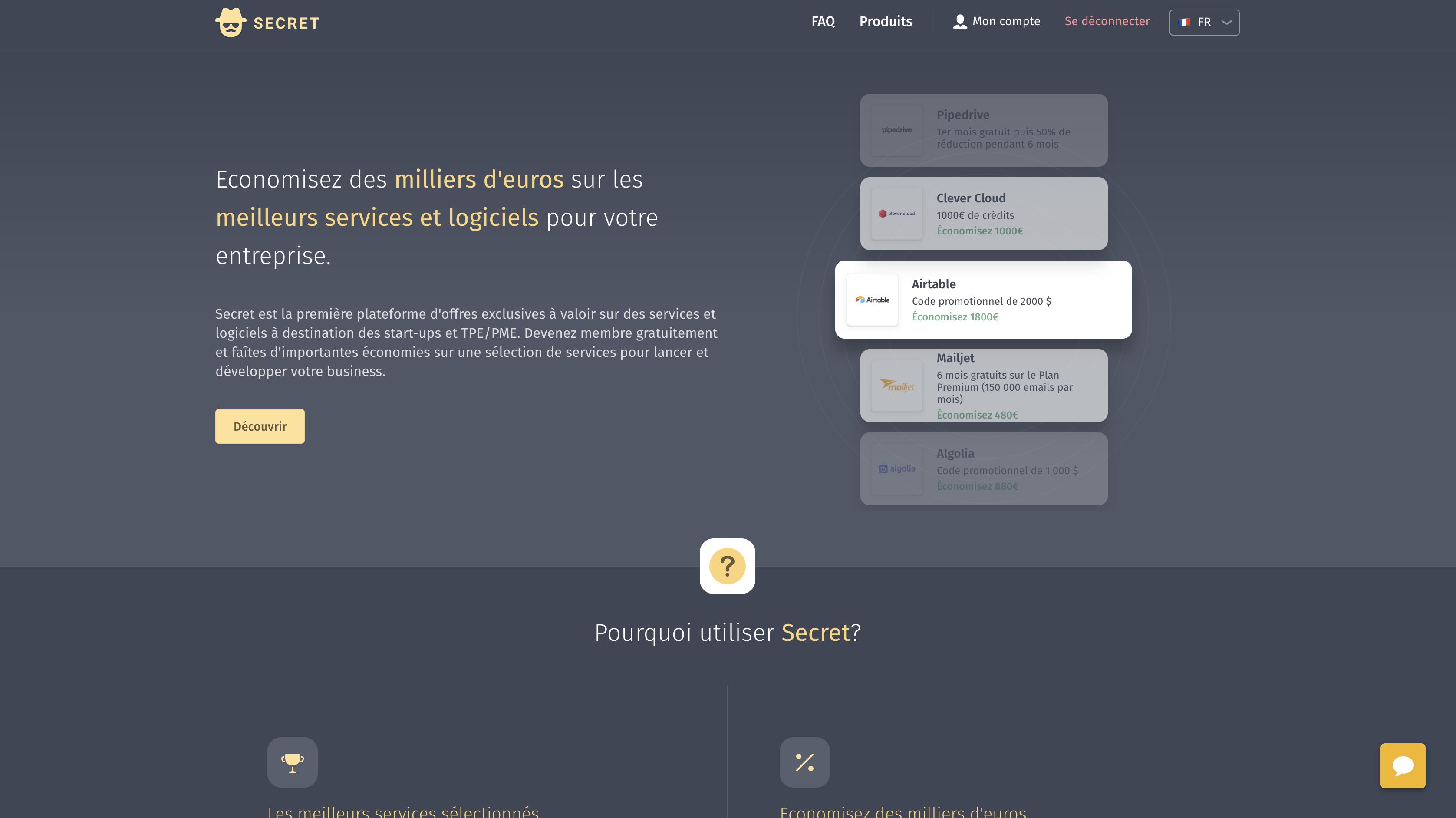 Freebe : Secret offre gratuitement des milliers d'euros d'économies sur les meilleurs logiciels